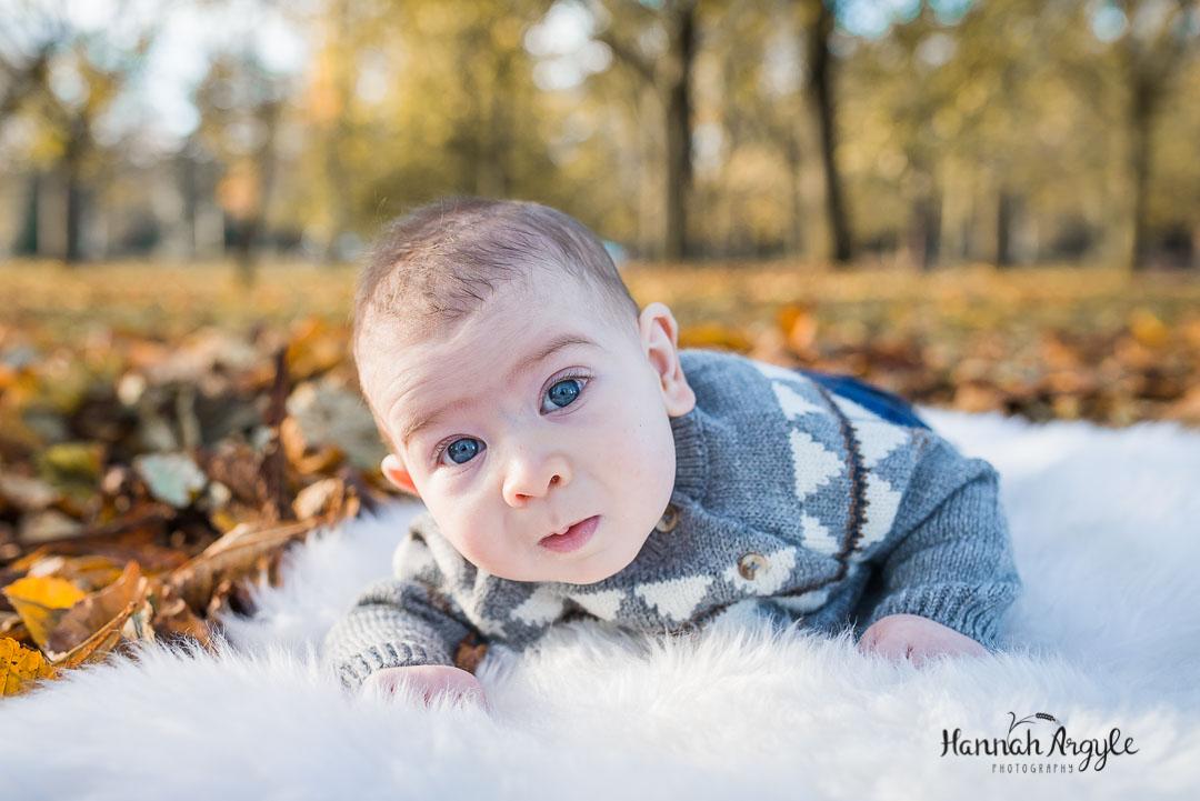 Autumn baby photoshoot Abington park Northampton