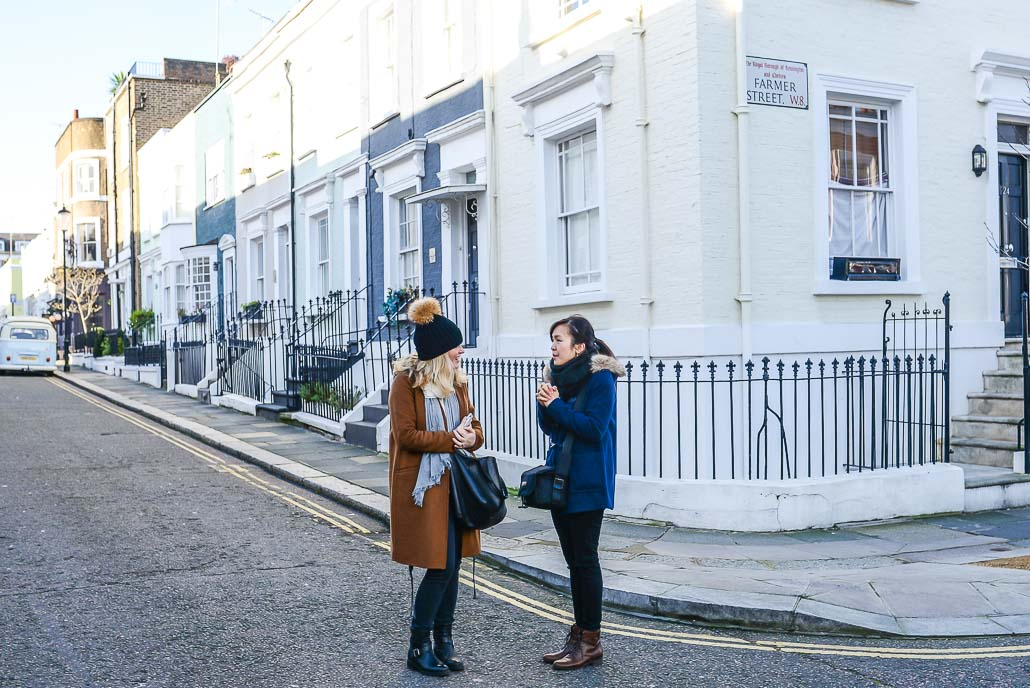 Jessica and Siobhan rocking a Notting Hill corner (note the camper van on the far left :))