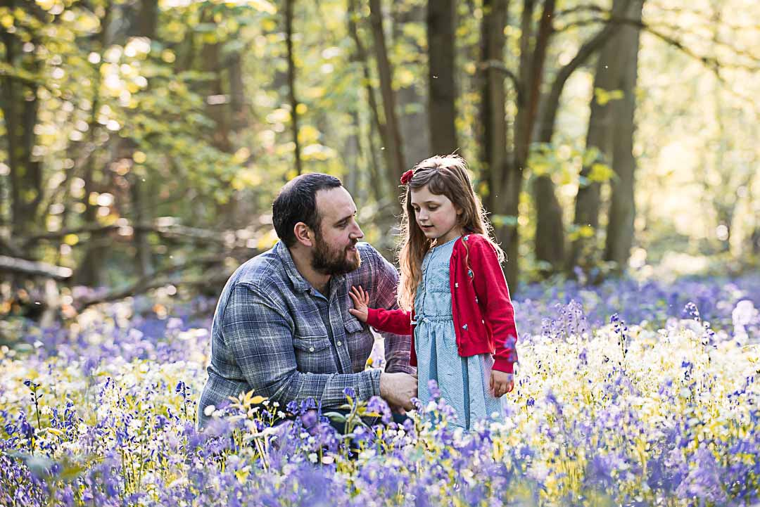 Spring photoshoot Father and Daughter in the bluebells