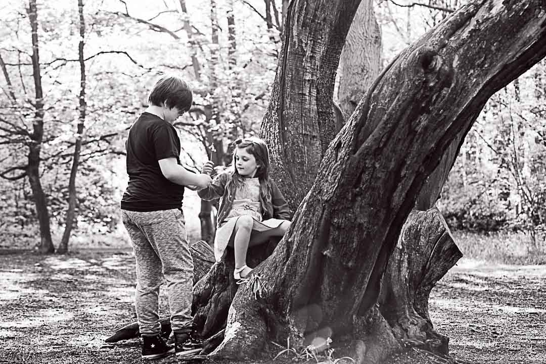 Brother and sister in the woods photoshoot