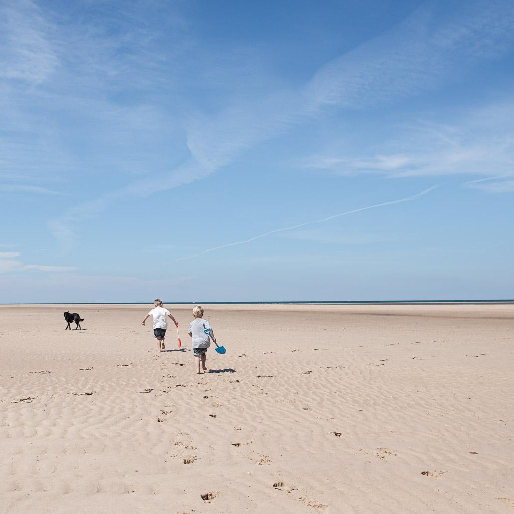 Norfolk beach little boys and dog