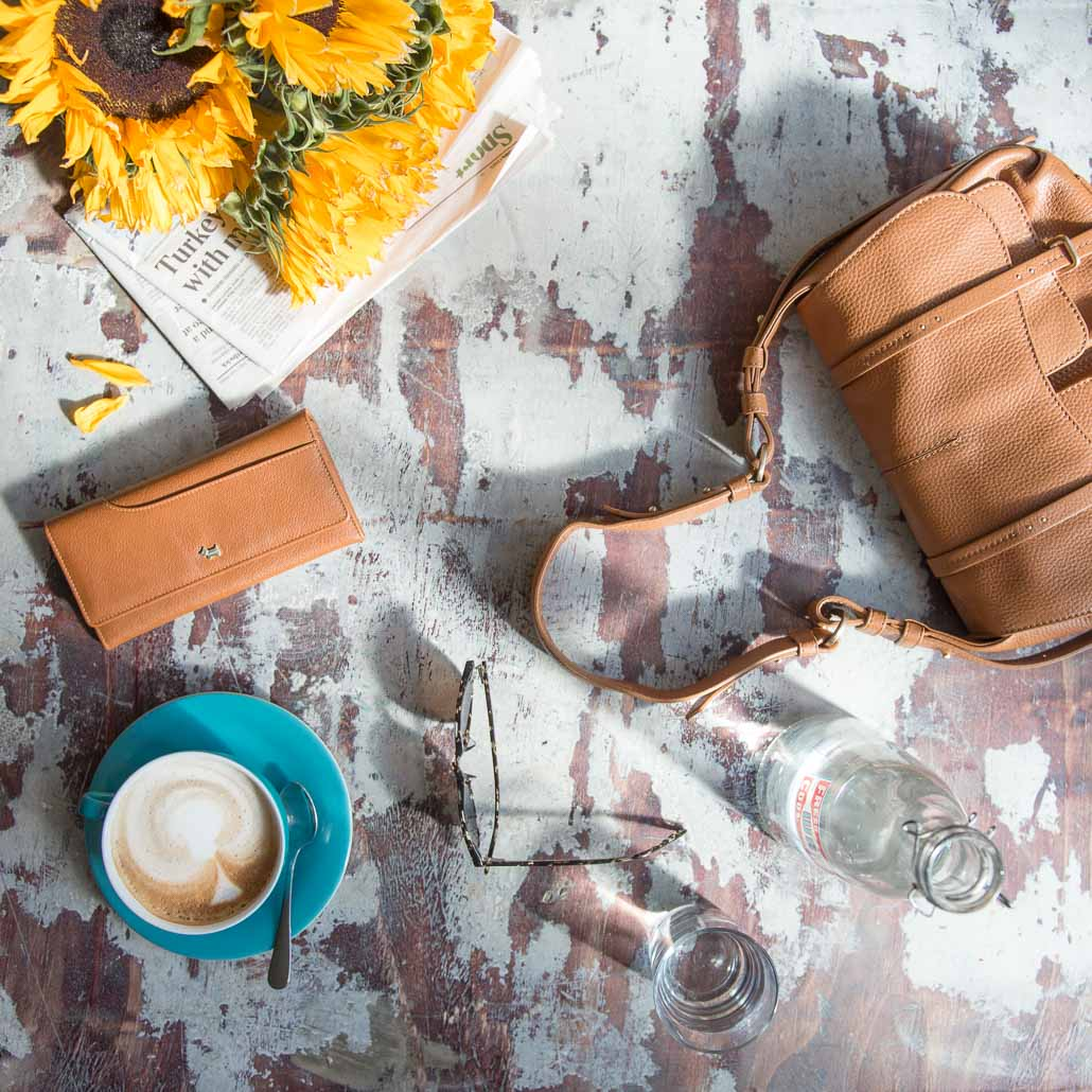 Radley luxury leather handbag and purse in cafe