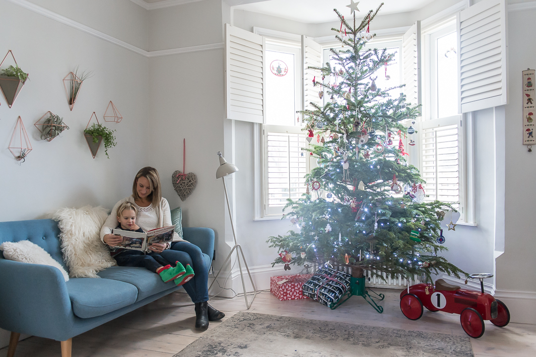 cosy Christmas scene, mum reading to little boy