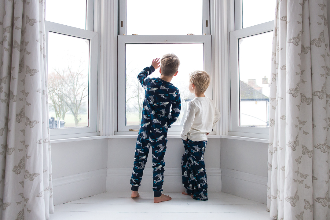 cosy little boys on Fat Face pyjamas
