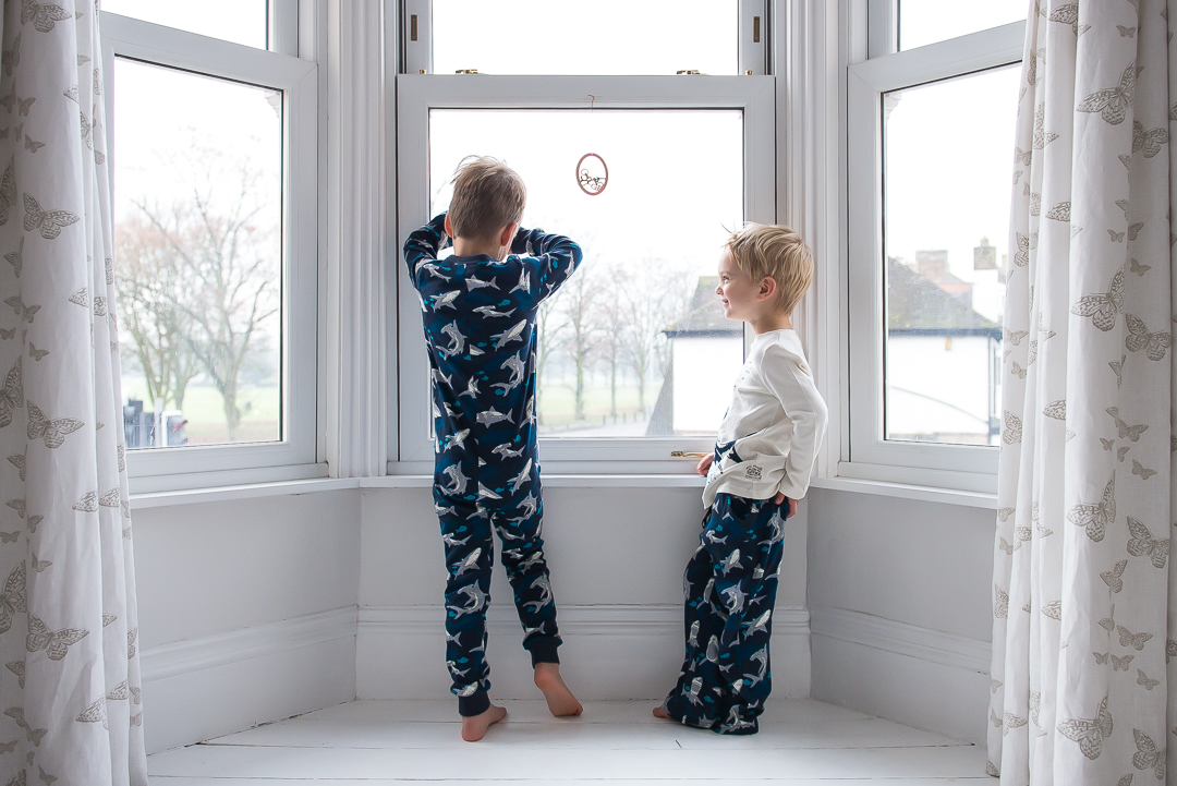 Cosy little boys in Fat Face pyjamas