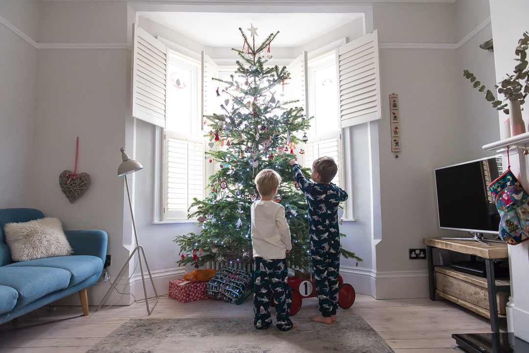 cosy Christmas scene with two little boys