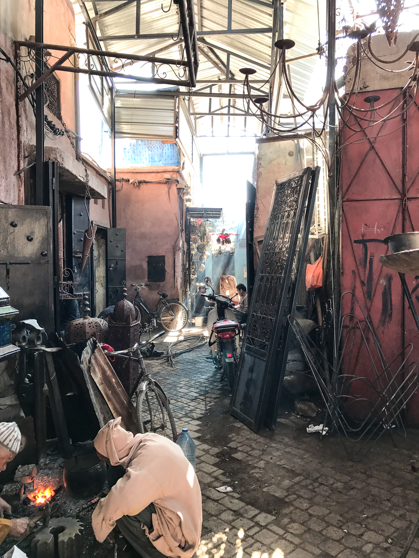 welders in the sunshine, in the souk, Marrakesh, Morocco