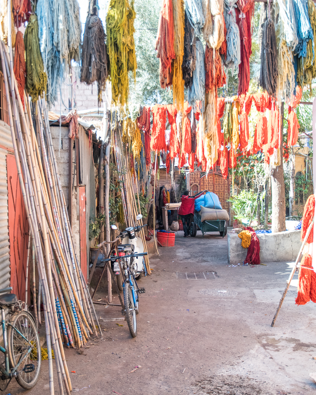 Marrakesh, Morocco, colourful silk market