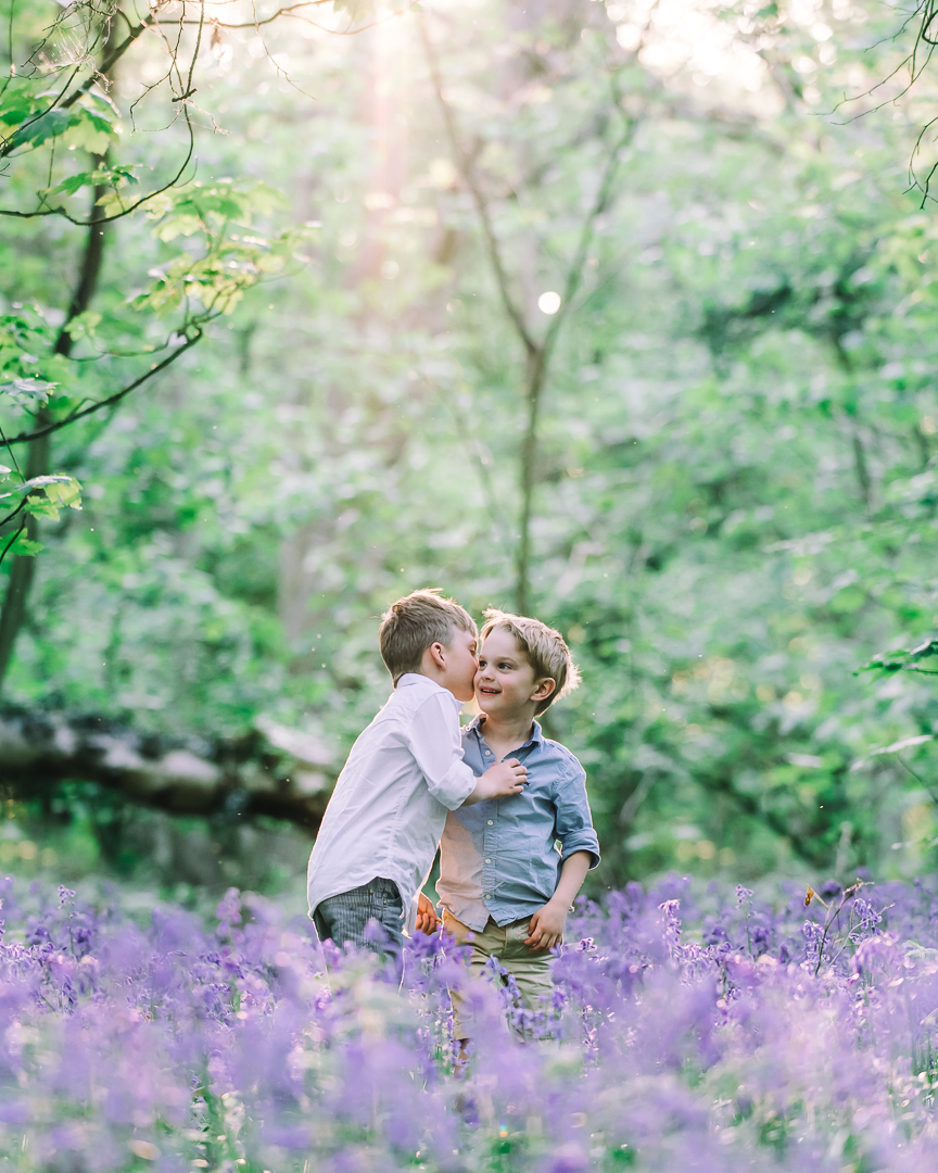 little boys in the bluebells at golden hour