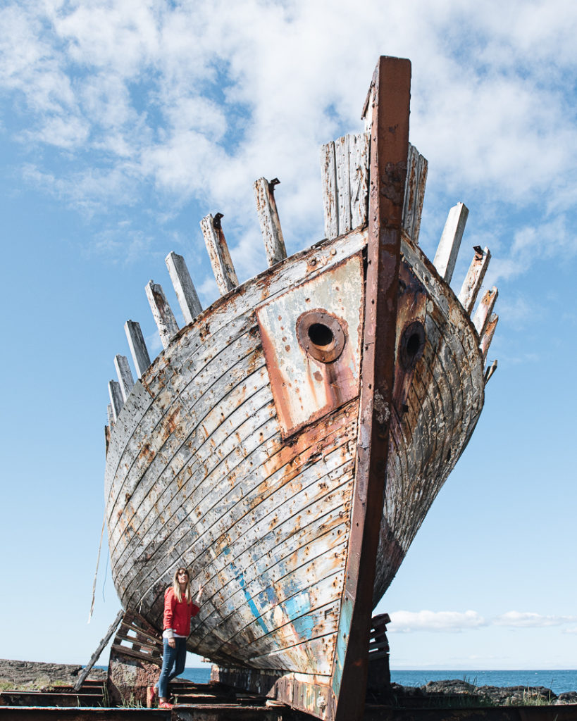 Abandoned boat in Akranes Iceland
