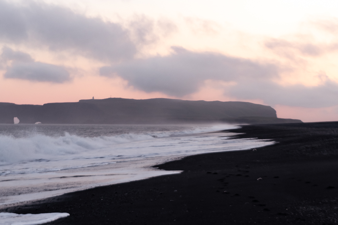 black beach at Reynisfjara midnight sun