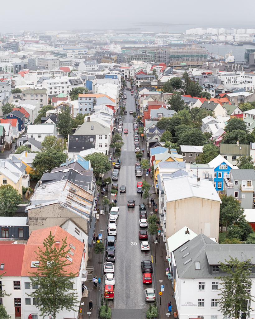 the view from the top of Hallgrimskirkja Reykjavik