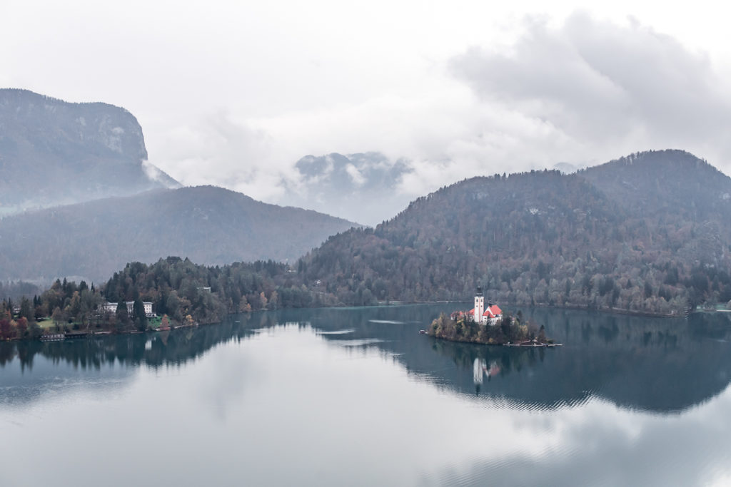 Lake bled island from Bled castle